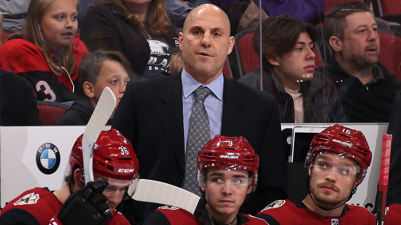 GLENDALE, AZ - NOVEMBER 22: Head coach Rick Tocchet of the Arizona Coyotes watches from the bench during the third period of the NHL game against the San Jose Sharks at Gila River Arena on November 22, 2017 in Glendale, Arizona. The Sharks defeated the Coyotes 3-1.