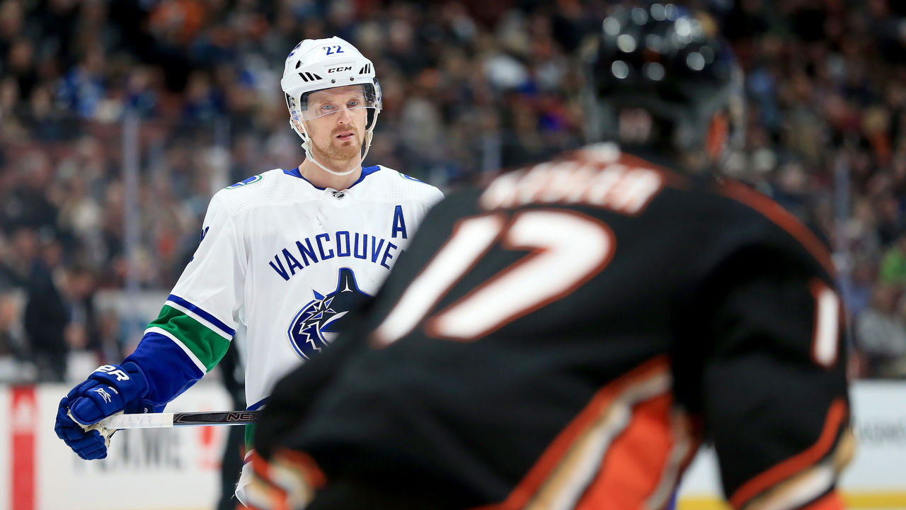 ANAHEIM, CA - MARCH 14: Daniel Sedin #22 of the Vancouver Canucks looks on during the second period of a game against the Anaheim Ducks at Honda Center on March 14, 2018 in Anaheim, California.