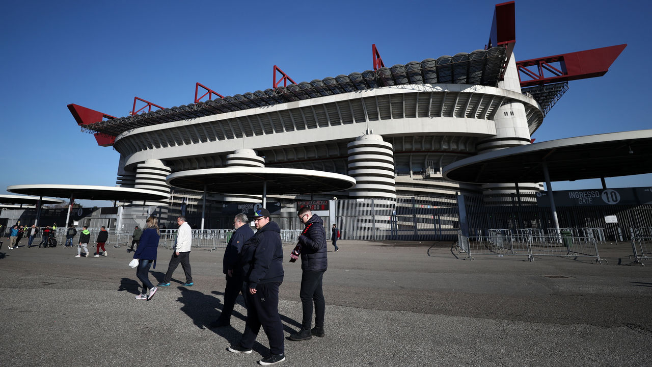 MILAN, ITALY - MARCH 08: General view outside the stadium before the UEFA Europa League Round of 16 match between AC Milan and Arsenal at the San Siro on March 8, 2018 in Milan, Italy.