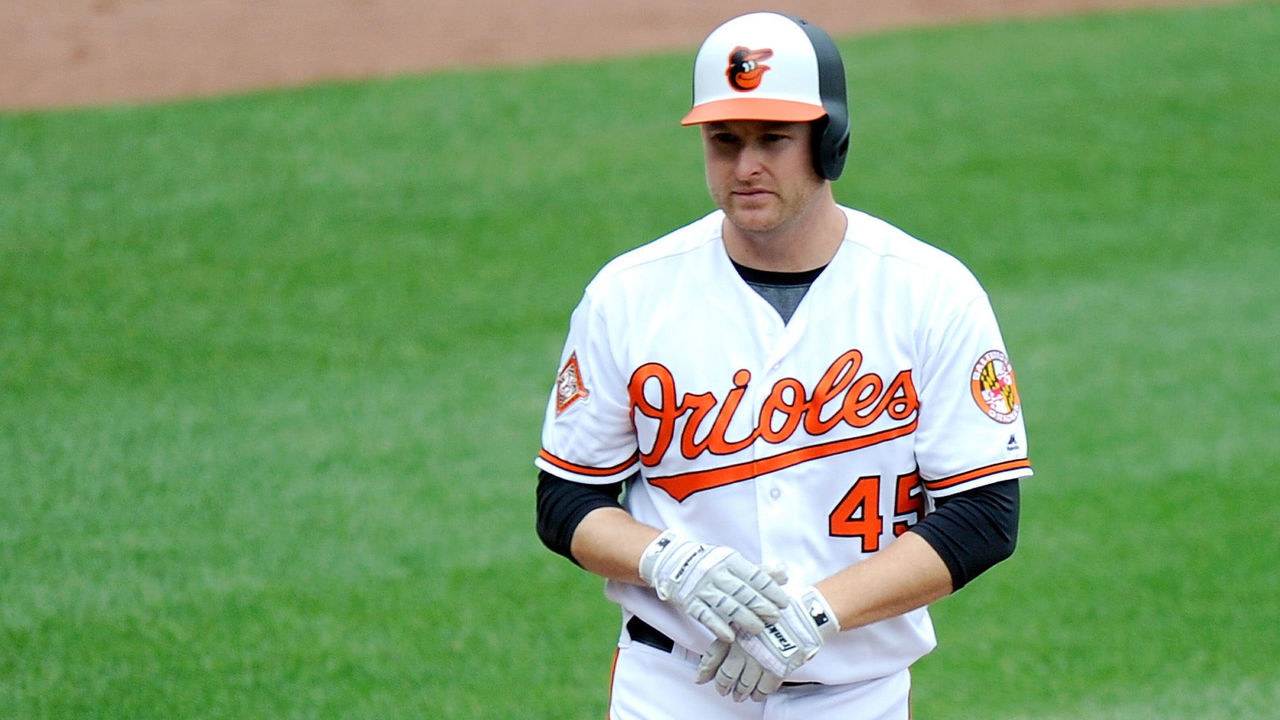 BALTIMORE, MD - MAY 21: Mark Trumbo #45 of the Baltimore Orioles flips his bat after striking out in the sixth inning against the Toronto Blue Jays at Oriole Park at Camden Yards on May 21, 2017 in Baltimore, Maryland.