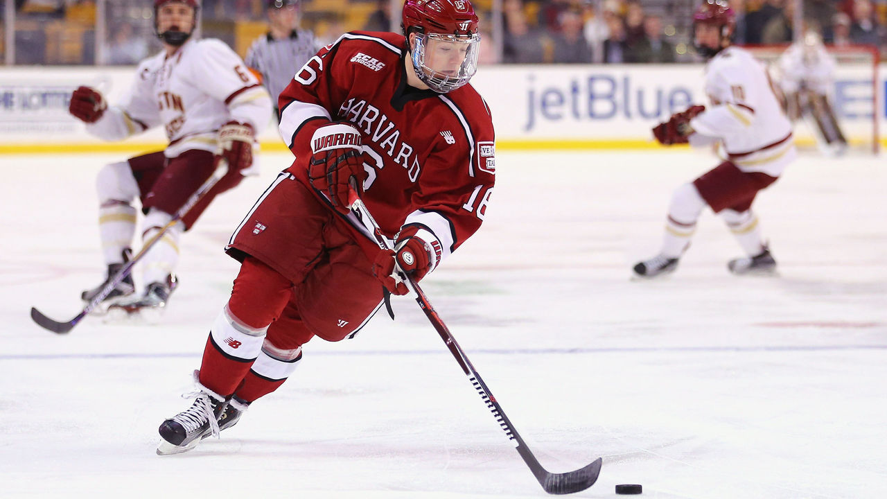 BOSTON, MA - FEBRUARY 01: Ryan Donato #16 of the Harvard Crimson skates against the Boston College Eagles during the first period at TD Garden on February 1, 2016 in Boston, Massachusetts.