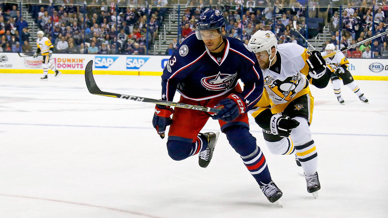 COLUMBUS, OH - APRIL 18: Seth Jones #3 of the Columbus Blue Jackets and Bryan Rust #17 of the Pittsburgh Penguins chase after the puck in Game Four of the Eastern Conference First Round during the 2017 NHL Stanley Cup Playoffs on April 18, 2017 at Nationwide Arena in Columbus, Ohio.