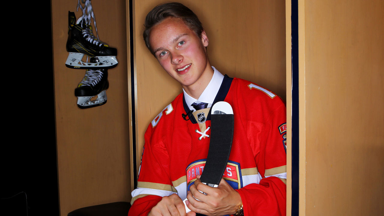 BUFFALO, NY - JUNE 24: Henrik Borgstrom poses for a portrait after being selected 23rd overall by the Florida Panthers in round one during the 2016 NHL Draft on June 24, 2016 in Buffalo, New York.