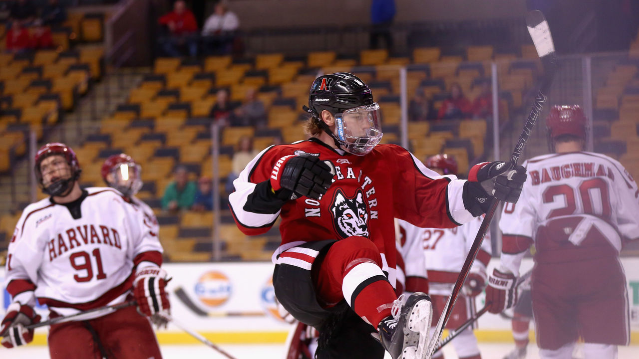 BOSTON, MA - FEBRUARY 08: Adam Gaudette #8 of Northeastern University reacts after scoring a goal against Harvard University during the first period of the Beanpot Tournament consolation game at TD Garden on February 8, 2016 in Boston, Massachusetts.