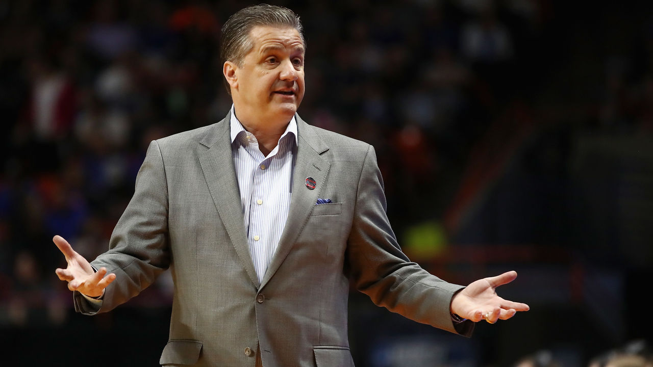 BOISE, ID - MARCH 15: Head coach John Calipari of the Kentucky Wildcats reacts in the first half against the Davidson Wildcats during the first round of the 2018 NCAA Men's Basketball Tournament at Taco Bell Arena on March 15, 2018 in Boise, Idaho.