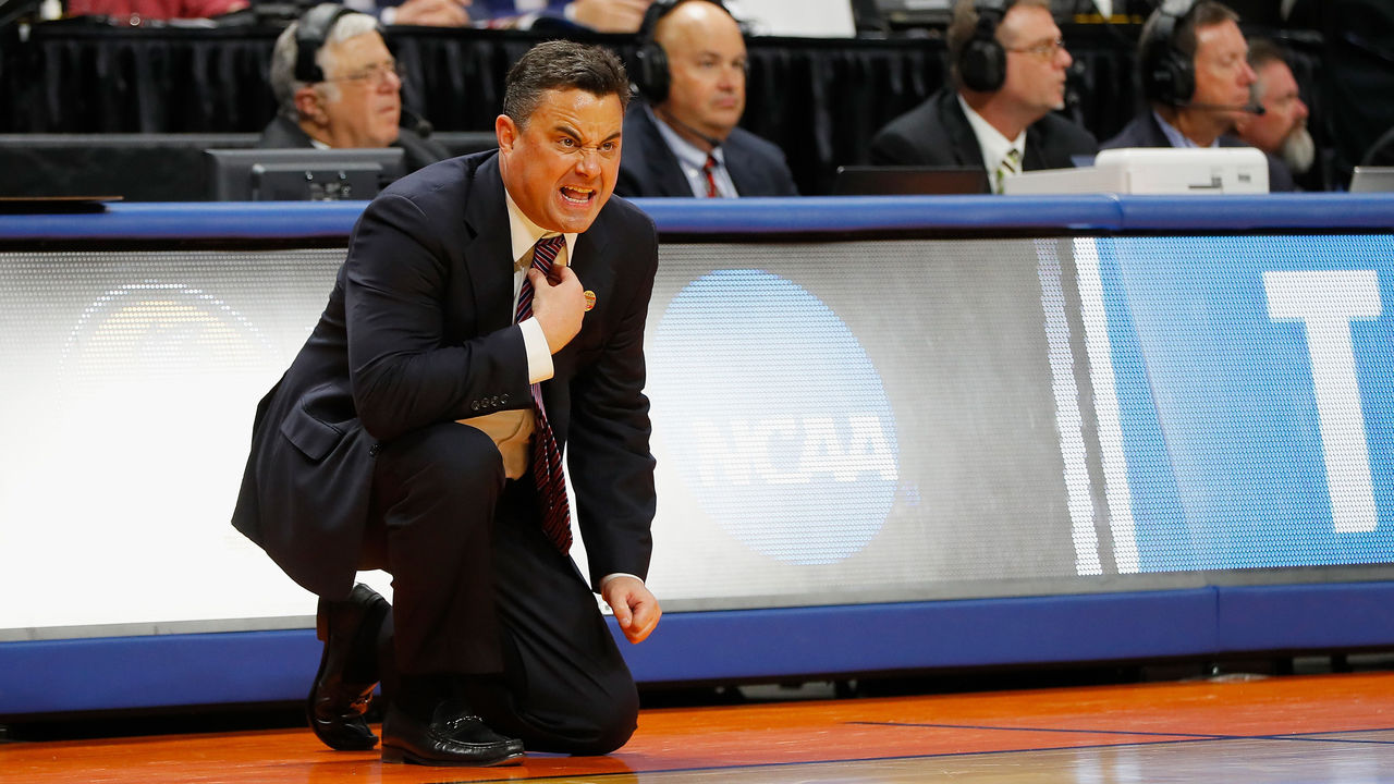 BOISE, ID - MARCH 15: Head coach Sean Miller of the Arizona Wildcats reacts in the first half against the Buffalo Bulls during the first round of the 2018 NCAA Men's Basketball Tournament at Taco Bell Arena on March 15, 2018 in Boise, Idaho.