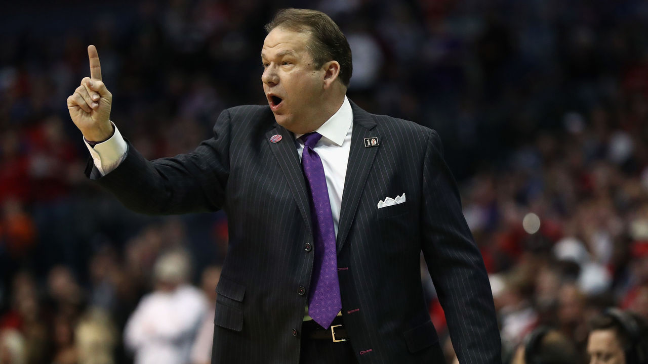 DALLAS, TX - MARCH 15: Head coach Kyle Keller of the Stephen F. Austin Lumberjacks reacts against the Texas Tech Red Raiders in the first half in the first round of the 2018 NCAA Men's Basketball Tournament at American Airlines Center on March 15, 2018 in Dallas, Texas.