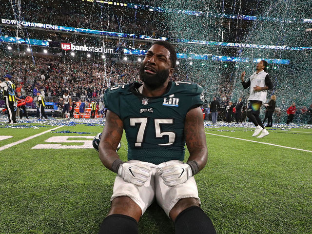 MINNEAPOLIS MN - FEBRUARY 04 Vinny Curry 75 of the Philadelphia Eagles celebrates after defeating the New England Patriots 41-33 in Super Bowl LII at US Bank Stadium on February 4 2018 in Minneapolis Minnesota