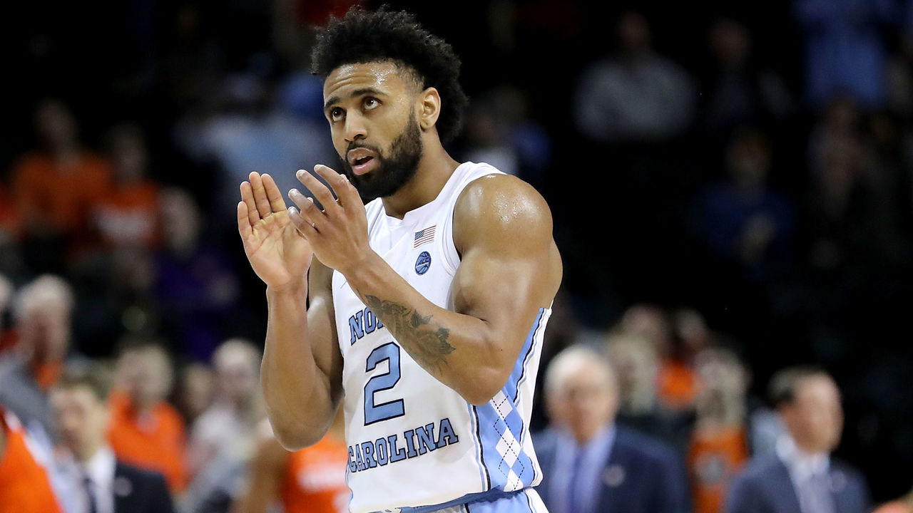 NEW YORK, NY - MARCH 07: Joel Berry II #2 of the North Carolina Tar Heels reacts in the second half against the Syracuse Orange during the second round of the ACC Men's Basketball Tournament at Barclays Center on March 7, 2018 in New York City.