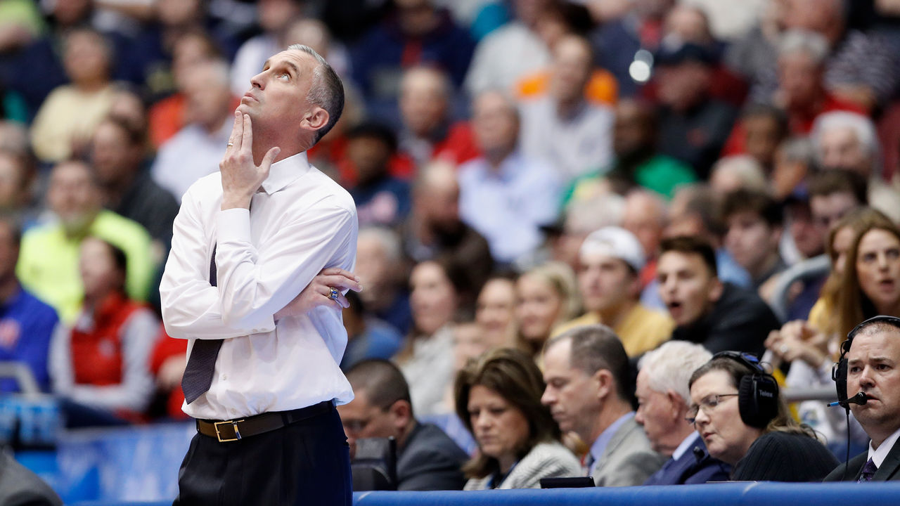 DAYTON, OH - MARCH 14: Head coach Bobby Hurley of the Arizona State Sun Devils reacts against the Syracuse Orange during the First Four of the 2018 NCAA Men's Basketball Tournament at UD Arena on March 14, 2018 in Dayton, Ohio.