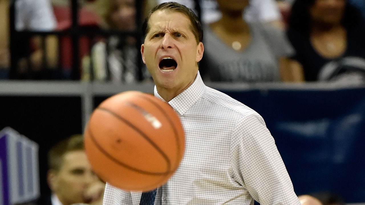 LAS VEGAS, NV - MARCH 09: Head coach Eric Musselman of the Nevada Wolf Pack yells to his team during a semifinal game against the San Diego State Aztecs of the Mountain West Conference basketball tournament at the Thomas & Mack Center on March 9, 2018 in Las Vegas, Nevada.