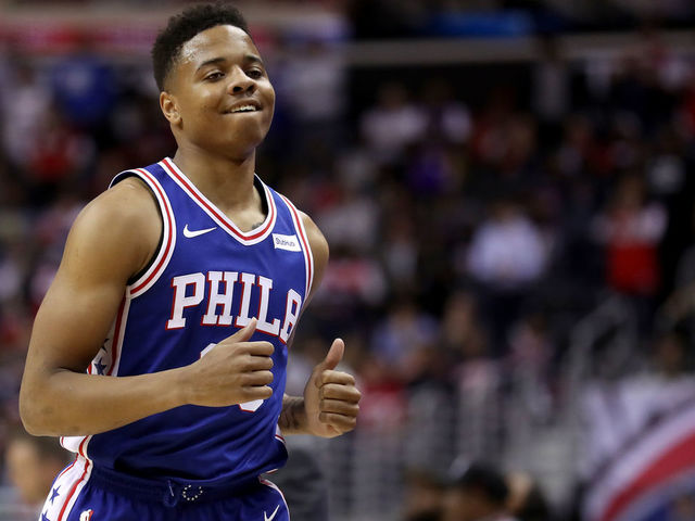 WASHINGTON DC - OCTOBER 18 Markelle Fultz 20 of the Philadelphia 76ers jogs off the court against the Washington Wizards at Capital One Arena on October 18 2017 in Washington DC