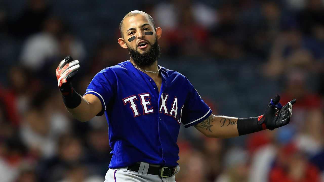 ANAHEIM, CA - AUGUST 24: Rougned Odor #12 of the Texas Rangers reacts after ending the ninth inning with a strikeout during a game against the Los Angeles Angels of Anaheim at Angel Stadium of Anaheim on August 24, 2017 in Anaheim, California.