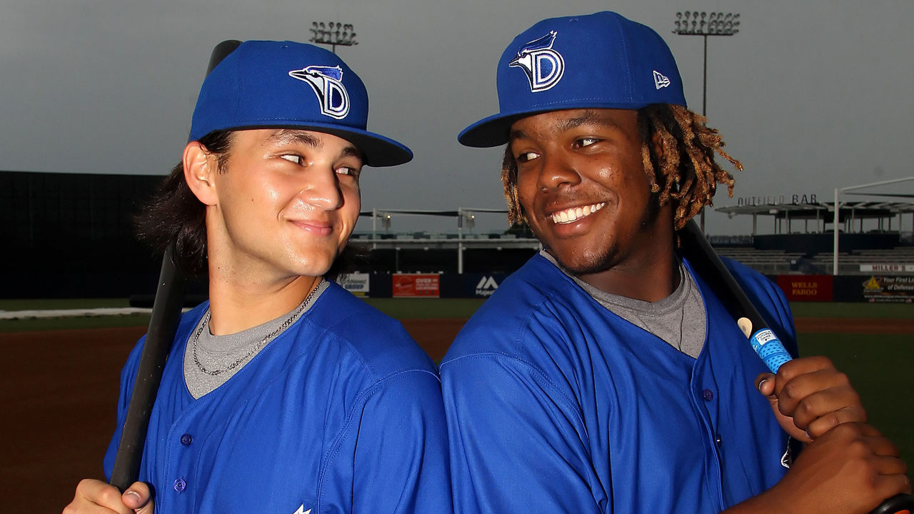 TAMPA, FL - JULY 12: Blue Jays prospects Bo Bichette and Vladimir Guerrero Jr. pose together before the Florida State League game between the Dunedin Blue Jays and the Tampa Yankees on July 12, 2017, at Steinbrenner Field in Tampa, FL.