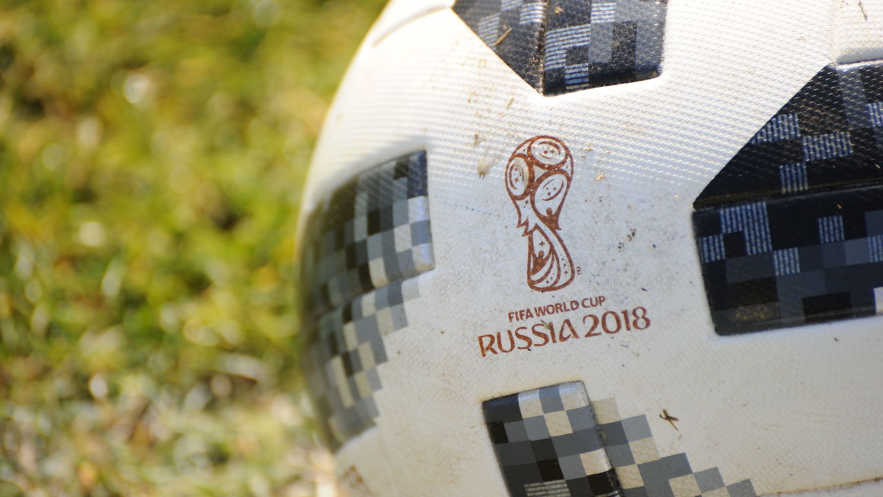 KASHIWA, JAPAN - MARCH 10: (EDITORIAL USE ONLY) Logo of Russia World Cup 2018 on the ball,Adidas Telstar prior to the J.League J1 match between Kashiwa Reysol and Cerezo Osaka at Sankyo Frontier Kashiwa Stadium on March 10, 2018 in Kashiwa, Chiba, Japan.