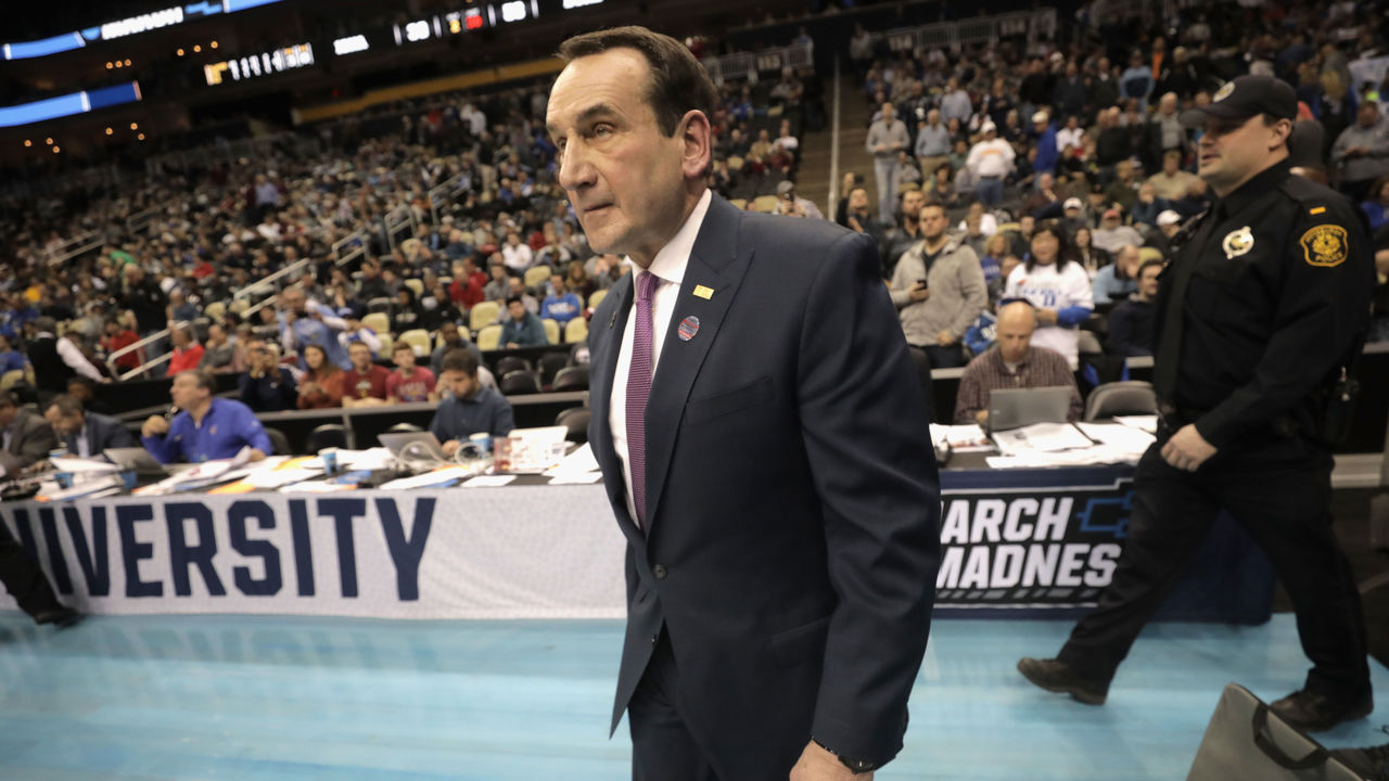 PITTSBURGH, PA - MARCH 15: Head coach Mike Krzyzewski of the Duke Blue Devils walks onto the court for the second half of the game against the Iona Gaels in the first round of the 2018 NCAA Men's Basketball Tournament at PPG PAINTS Arena on March 15, 2018 in Pittsburgh, Pennsylvania.