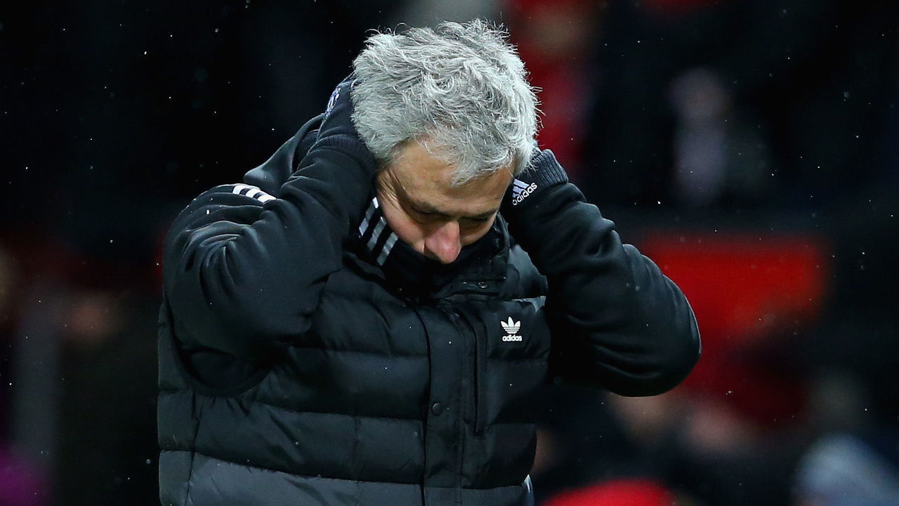 MANCHESTER, ENGLAND - MARCH 17: Jose Mourinho the Manchester United manager makes his way off of the field at half time during the Emirates FA Cup Quarter Final between Manchester United and Brighton & Hove Albion at Old Trafford on March 17, 2018 in Manchester, England.