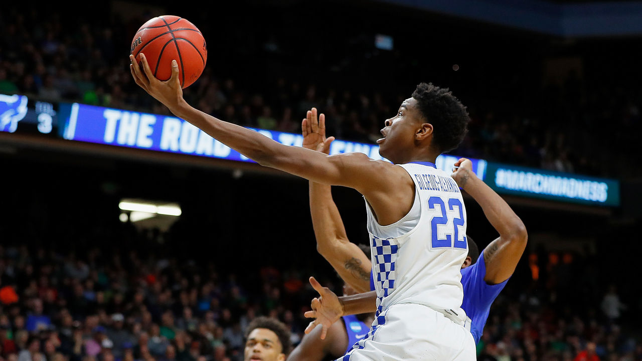 BOISE, ID - MARCH 17: Shai Gilgeous-Alexander #22 of the Kentucky Wildcats drives to the basket during the second half against the Buffalo Bulls in the second round of the 2018 NCAA Men's Basketball Tournament at Taco Bell Arena on March 17, 2018 in Boise, Idaho.