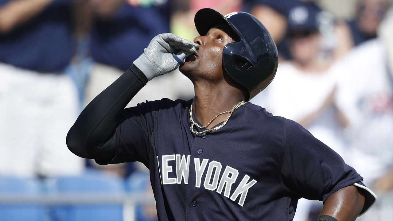 DUNEDIN, FL - FEBRUARY 27: Miguel Andujar #67 of the New York Yankees reacts after hitting a solo home run in the sixth inning of a Grapefruit League spring training game against the Toronto Blue Jays at Florida Auto Exchange Stadium on February 27, 2018 in Dunedin, Florida.
