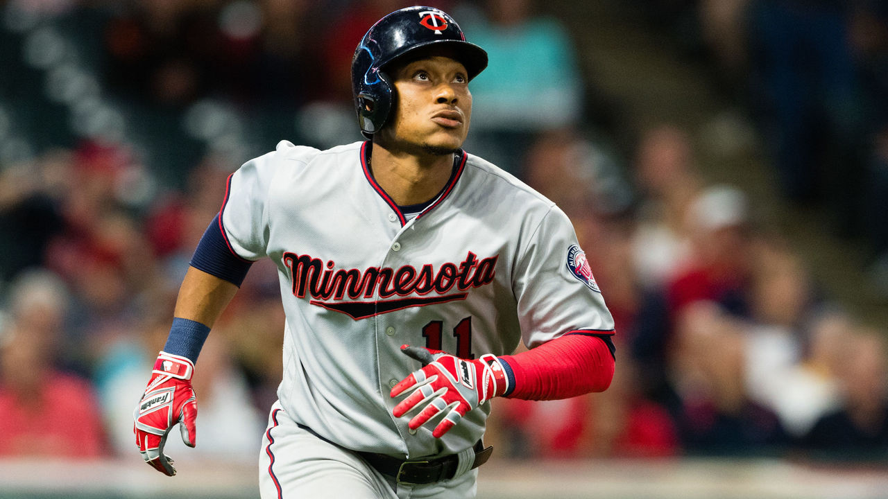 CLEVELAND, OH - SEPTEMBER 27: Jorge Polanco #11 of the Minnesota Twins watches a two run home run clear the right field fence during the ninth inning against the Cleveland Indians at Progressive Field on September 27, 2017 in Cleveland, Ohio. The Indians defeated the Twins 4-2.