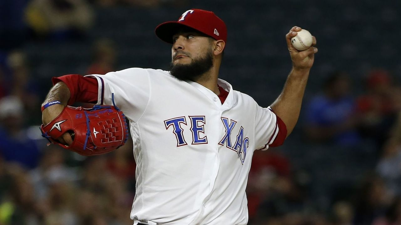ARLINGTON, TX - SEPTEMBER 29: Martin Perez #33 of the Texas Rangers pitches against the Oakland Athletics during the second inning at Globe Life Park in Arlington on September 29, 2017 in Arlington, Texas.