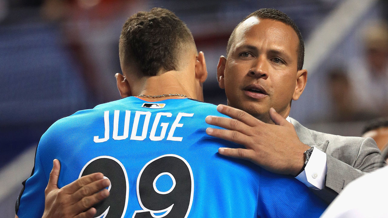 MIAMI, FL - JULY 11: Aaron Judge #99 of the New York Yankees and the American League greets former MLB player Alex Rodriguez during batting practice for the 88th MLB All-Star Game at Marlins Park on July 11, 2017 in Miami, Florida.