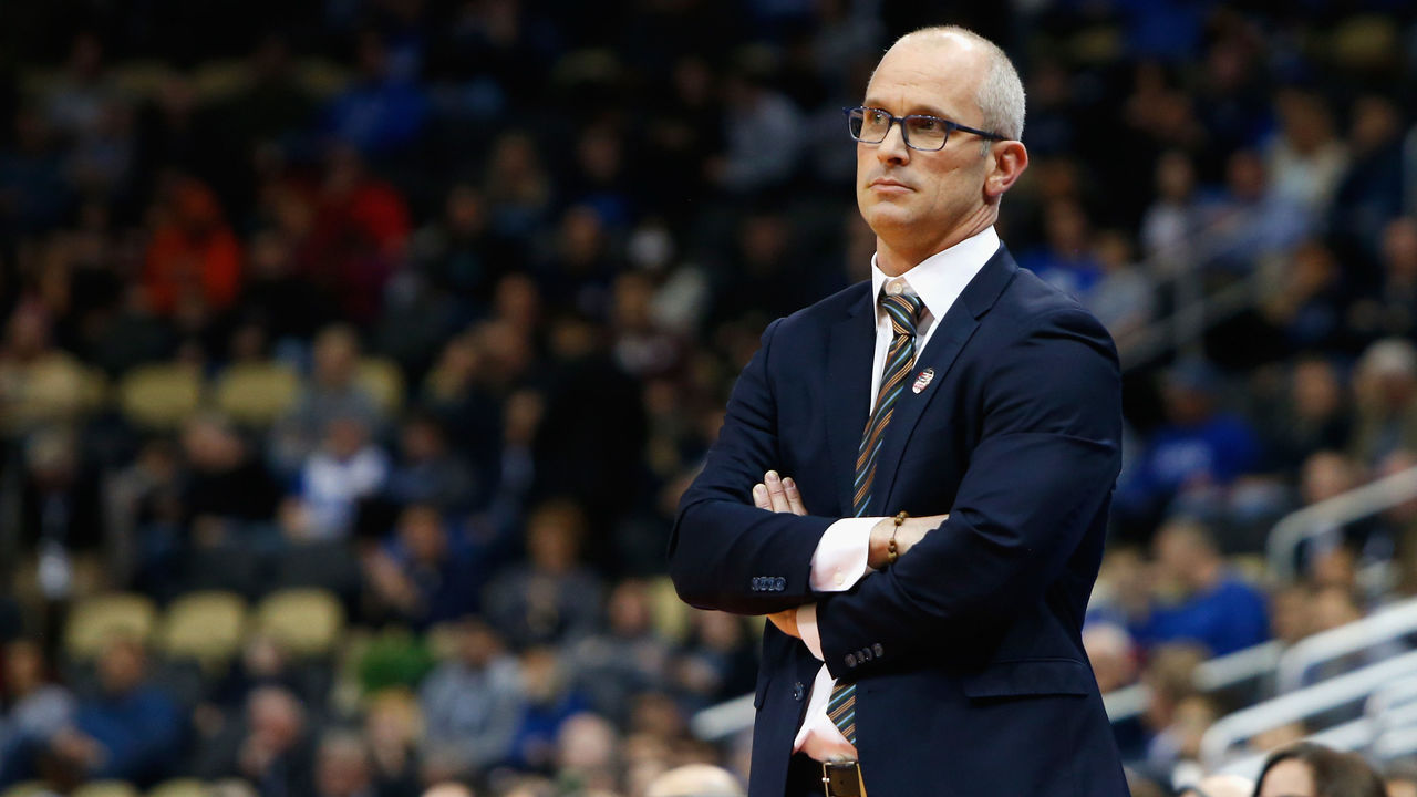 PITTSBURGH, PA - MARCH 15: Head coach Dan Hurley of the Rhode Island Rams watches his team in the first half of the game against the Oklahoma Sooners during the first round of the 2018 NCAA Men's Basketball Tournament at PPG PAINTS Arena on March 15, 2018 in Pittsburgh, Pennsylvania.