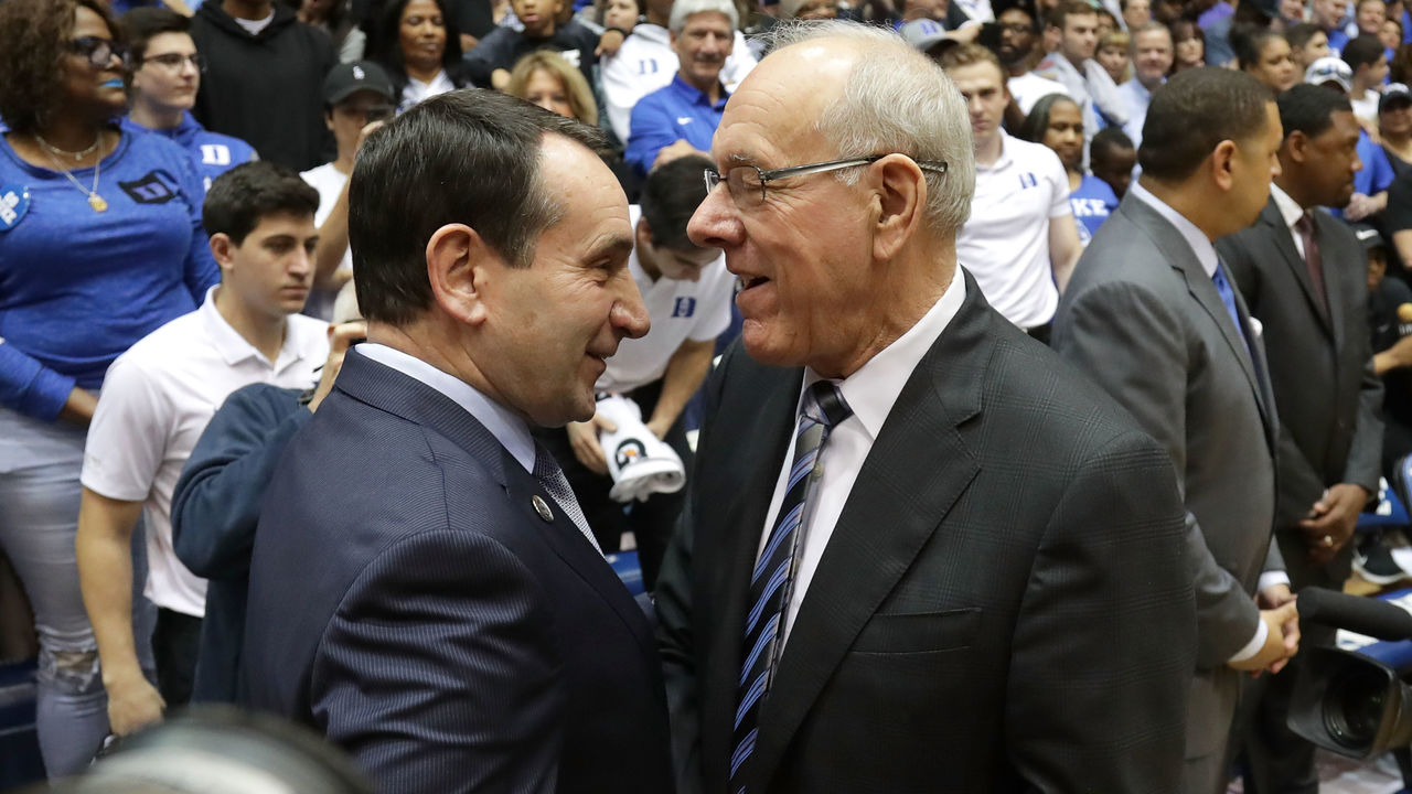 DURHAM, NC - FEBRUARY 24: (L-R) Head coach Mike Krzyzewski of the Duke Blue Devils talks to head coach Jim Boeheim of the Syracuse Orange before their game at Cameron Indoor Stadium on February 24, 2018 in Durham, North Carolina.