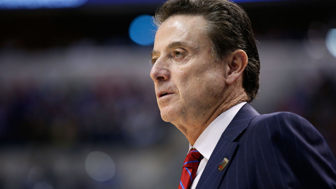 INDIANAPOLIS, IN - MARCH 19: Head coach Rick Pitino of the Louisville Cardinals reacts in the first half against the Michigan Wolverines during the second round of the 2017 NCAA Men's Basketball Tournament at the Bankers Life Fieldhouse on March 19, 2017 in Indianapolis, Indiana.