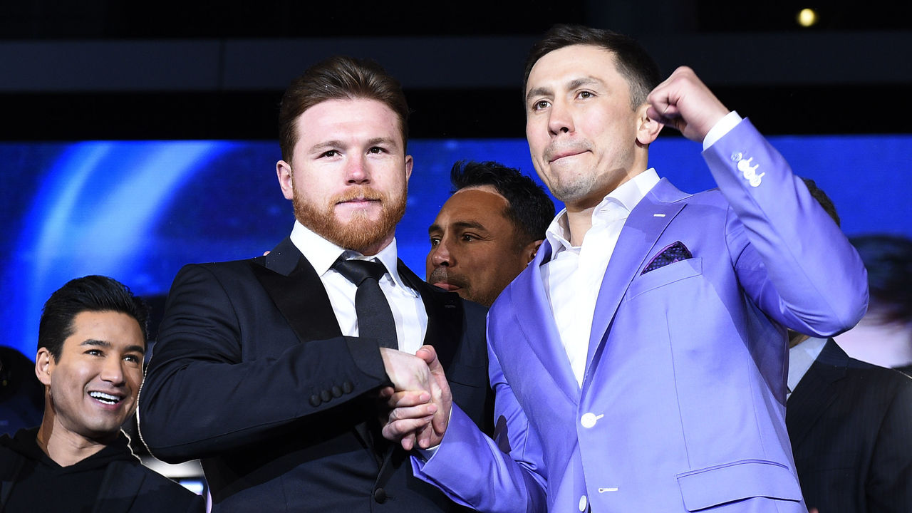 LOS ANGELES, CA - FEBRUARY 27: Boxers Canelo Alvarez (L) and Gennady Golovkin pose during a news conference at Microsoft Theater at L.A. Live to announce their upcoming rematch on February 27, 2018 in Los Angeles, California.