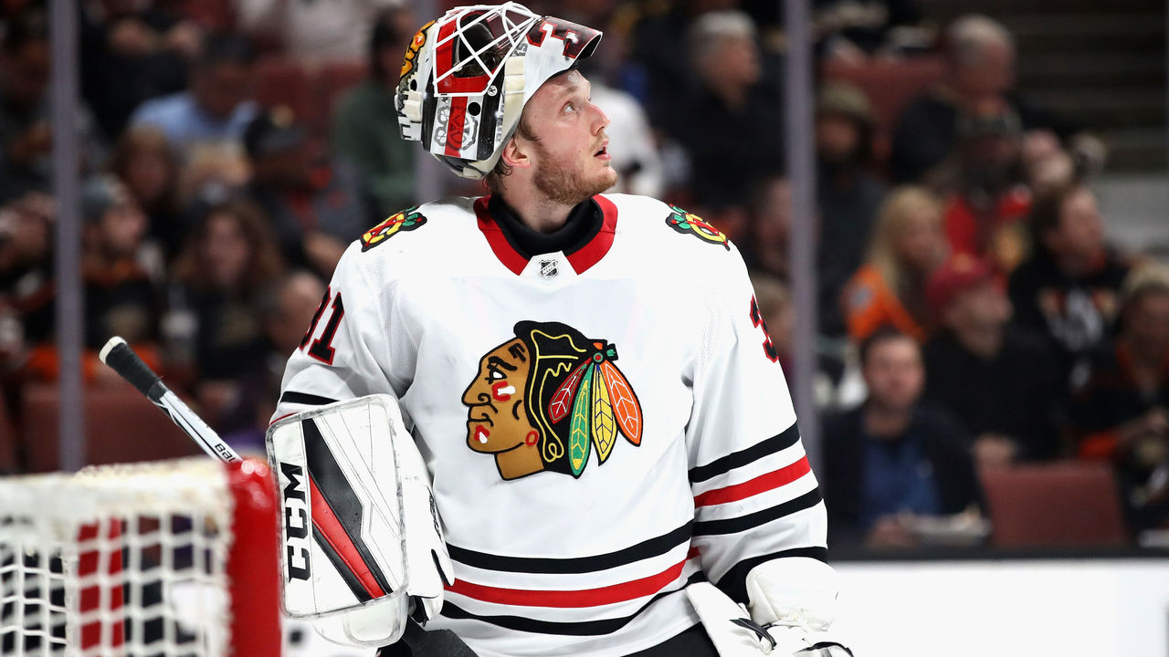 ANAHEIM, CA - MARCH 04: Anton Forsberg #31 of the Chicago Blackhawks looks on during the first period of a game against the Anaheim Ducks at Honda Center on March 4, 2018 in Anaheim, California.