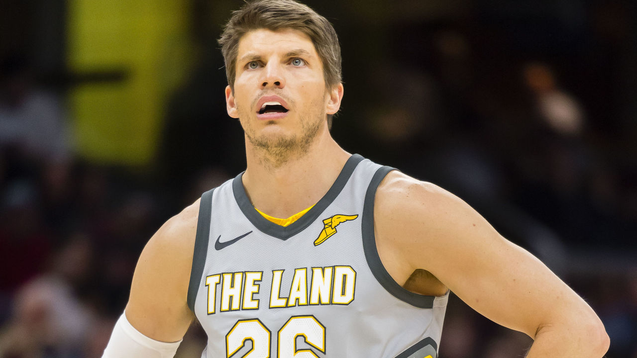 CLEVELAND, OH - FEBRUARY 7: Kyle Korver #26 of the Cleveland Cavaliers pauses on the court during the second half against the Minnesota Timberwolves at Quicken Loans Arena on February 7, 2018 in Cleveland, Ohio. The Cavaliers defeated the Timberwolves 140-138 in overtime.
