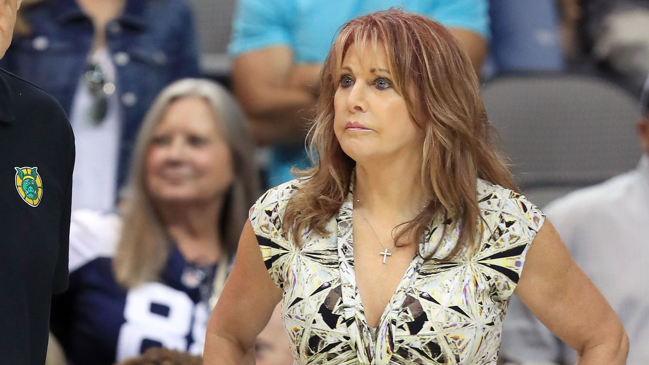 DALLAS, TX - JULY 30: Coach Rick Barry of the Ball Hogs and Nancy Lieberman meet during week six of the BIG3 three on three basketball league at American Airlines Center on July 30, 2017 in Dallas, Texas.