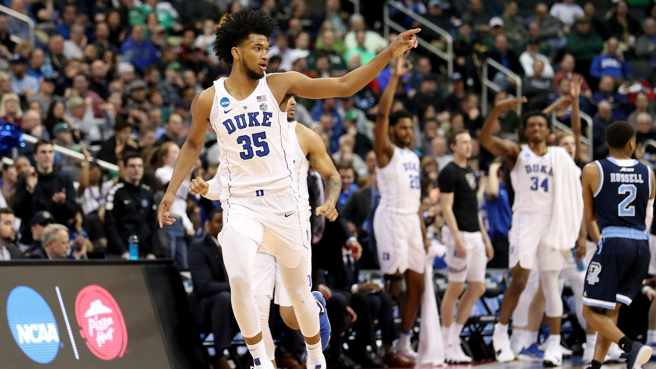 PITTSBURGH, PA - MARCH 17: Marvin Bagley III #35 of the Duke Blue Devils celebrates a three point basket against the Rhode Island Rams during the second half in the second round of the 2018 NCAA Men's Basketball Tournament at PPG PAINTS Arena on March 17, 2018 in Pittsburgh, Pennsylvania.