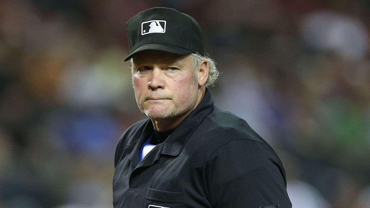 PHOENIX, AZ - JUNE 17: Home plate umpire Ted Barrett during the MLB game between the Arizona Diamondbacks and the Milwaukee Brewers at Chase Field on June 17, 2014 in Phoenix, Arizona.