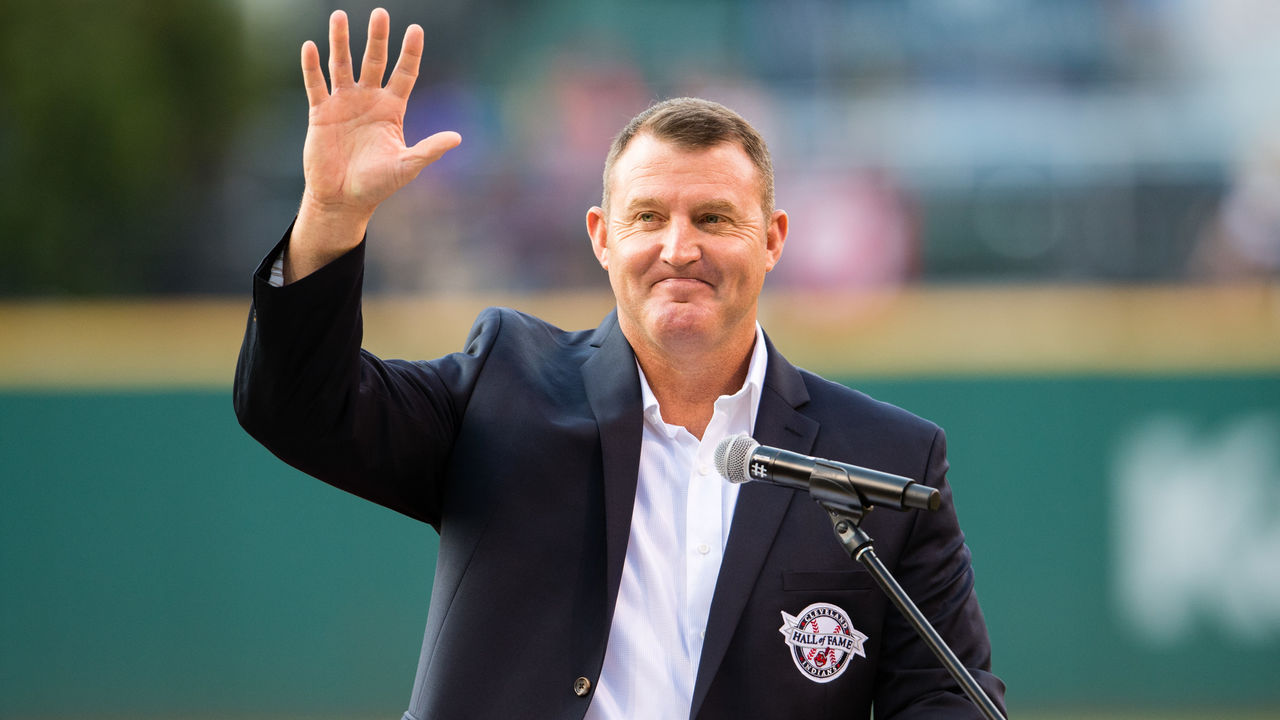 CLEVELAND, OH - JULY 30: Former Cleveland Indians great Jim Thome waves to the crowd after being inducted into the Indians Hall of Fame prior to the game against the Oakland Athletics at Progressive Field on July 30, 2016 in Cleveland, Ohio.