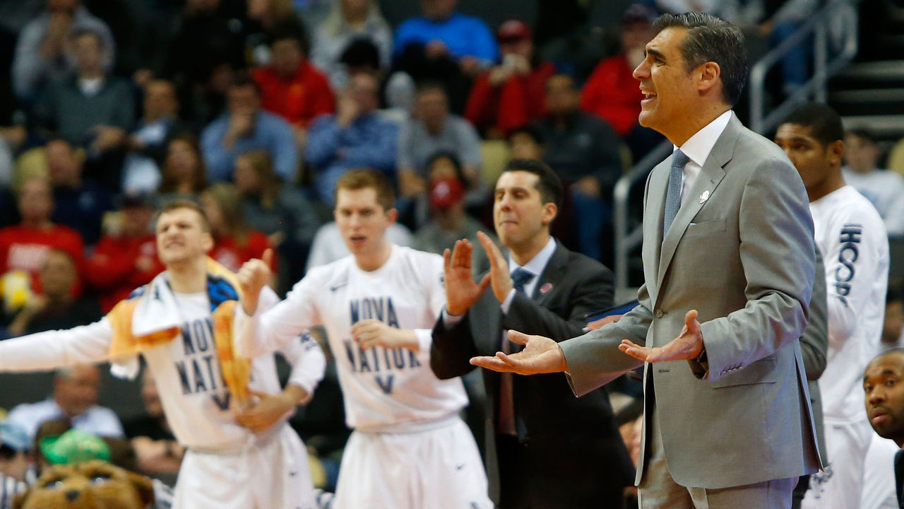 PITTSBURGH, PA - MARCH 15: Head coach Jay Wright of the Villanova Wildcats shouts against the Radford Highlanders during the first half of the game in the first round of the 2018 NCAA Men's Basketball Tournament at PPG PAINTS Arena on March 15, 2018 in Pittsburgh, Pennsylvania.