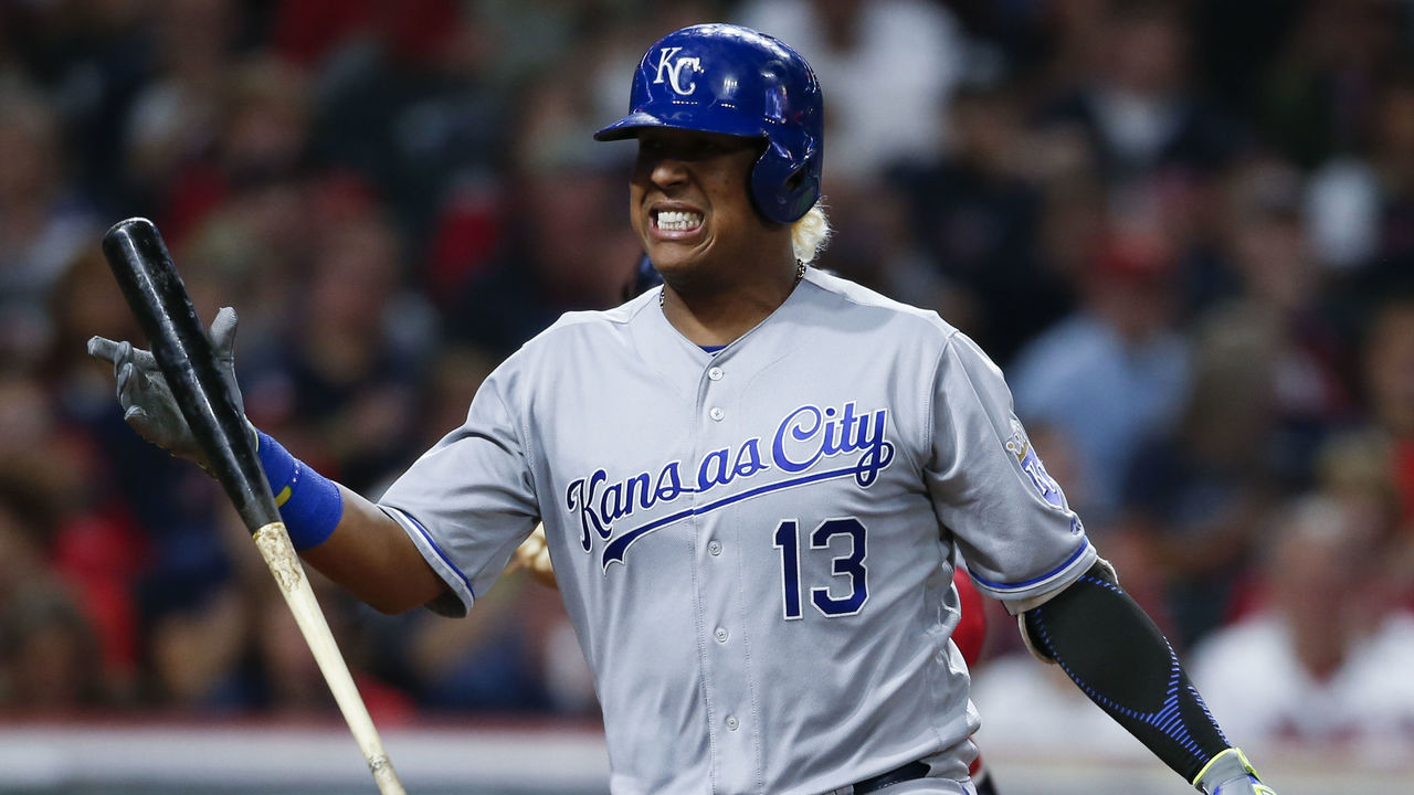 CLEVELAND, OH - SEPTEMBER 14: Salvador Perez #13 of the Kansas City Royals reacts after being struck out by Cleveland Indians' Joe Smith during the sixth inning at Progressive Field on September 14, 2017 in Cleveland, Ohio. The Indians defeated the Royals 3-2 for their 22nd win in a row, an MLB record.