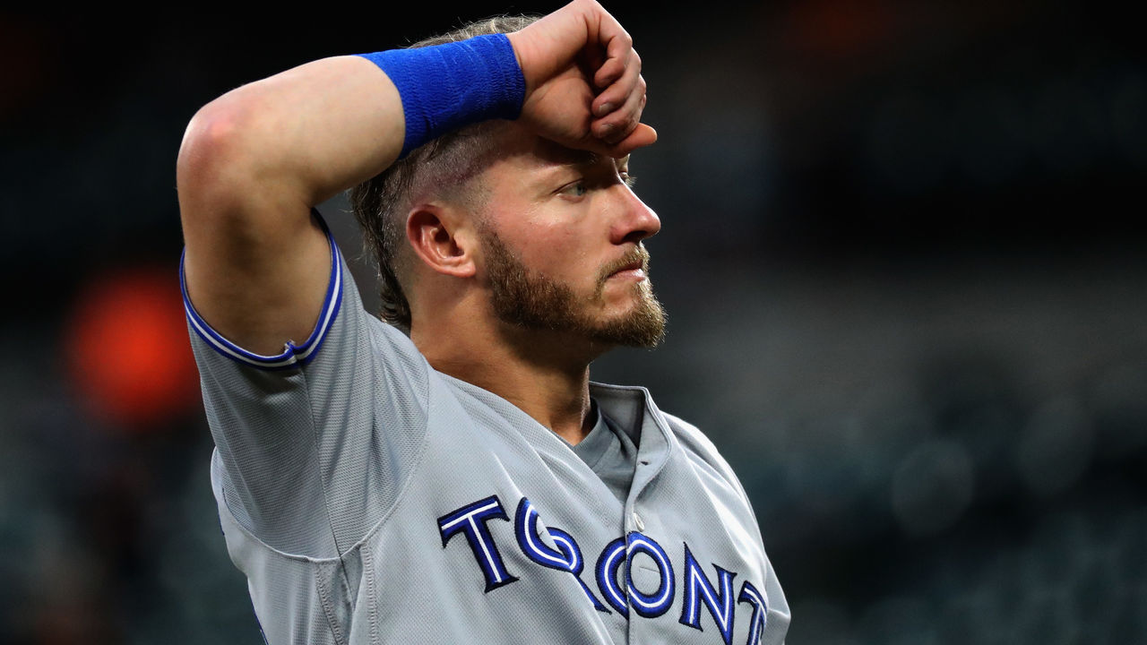 BALTIMORE, MD - AUGUST 31: Josh Donaldson #20 of the Toronto Blue Jays looks on after being forced out in the first inning against the Baltimore Orioles at Oriole Park at Camden Yards on August 31, 2017 in Baltimore, Maryland.