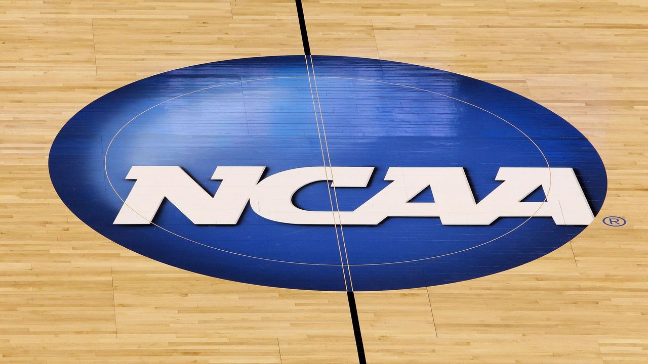 OKLAHOMA CITY - MARCH 20: A detail of a NCAA logo decal is seen at center court as the Kansas State Wildcats play against the Brigham Young Cougars during the second round of the 2010 NCAA men's basketball tournament at Ford Center on March 20, 2010 in Oklahoma City, Oklahoma.