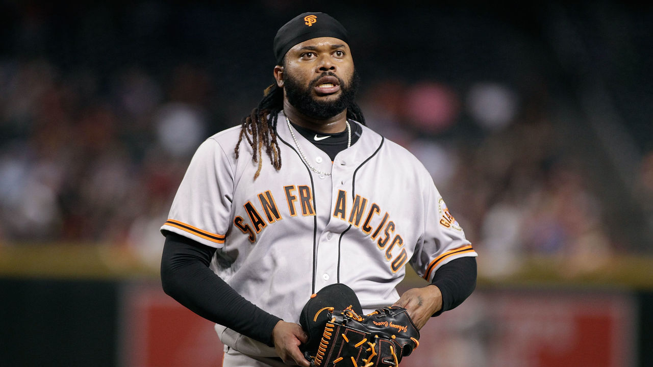 PHOENIX, AZ - SEPTEMBER 25: Johnny Cueto #47 of the San Francisco Giants walks off the field after pitching the fourth inning against the Arizona Diamondbacks during a MLB game at Chase Field on September 25, 2017 in Phoenix, Arizona. The Giants defeated the Diamondbacks 9-2.