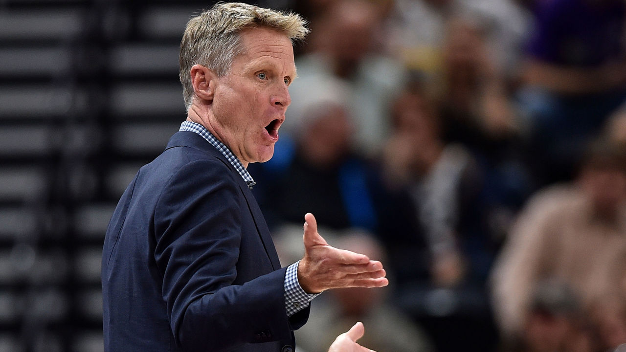 SALT LAKE CITY, UT - APRIL 10: Head coach Steve Kerr of the Golden State Warriors complains about a call in the first half of a game against the Utah Jazz at Vivint Smart Home Arena on April 10, 2018 in Salt Lake City, Utah.