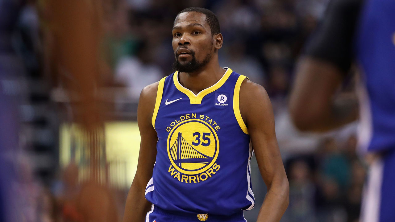 PHOENIX, AZ - APRIL 08: Kevin Durant #35 of the Golden State Warriors during the first half of the NBA game against the Phoenix Suns at Talking Stick Resort Arena on April 8, 2018 in Phoenix, Arizona.