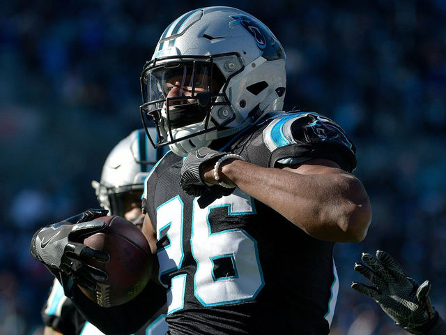 CHARLOTTE NC - DECEMBER 10 Daryl Worley 26 of the Carolina Panthers celebrates an interception against the Minnesota Vikings in the first quarter during their game at Bank of America Stadium on December 10 2017 in Charlotte North Carolina