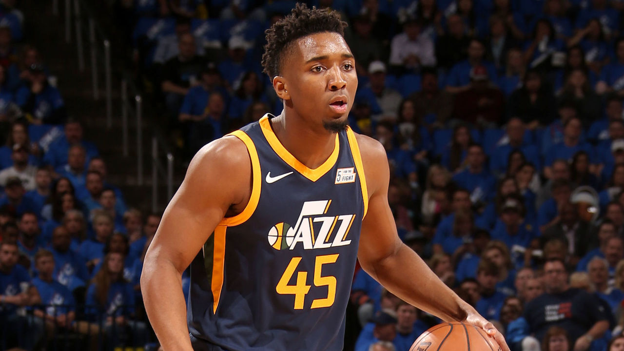 OKLAHOMA CITY, OK - APRIL 15: Donovan Mitchell #45 of the Utah Jazz handles the ball against the Oklahoma City Thunder during Game One of Round One of the 2018 NBA Playoffs on April 15, 2018 at Chesapeake Energy Arena in Oklahoma City, Oklahoma. NOTE TO USER: User expressly acknowledges and agrees that, by downloading and/or using this photograph, user is consenting to the terms and conditions of the Getty Images License Agreement. Mandatory Copyright Notice: Copyright 2018 NBAE