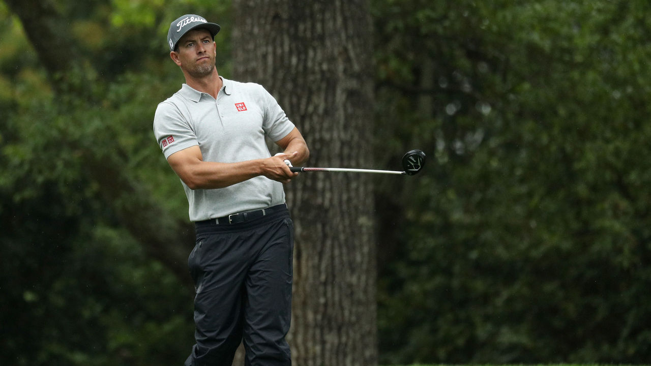 AUGUSTA, GA - APRIL 07: Adam Scott of Australia plays his shot from the second tee during the third round of the 2018 Masters Tournament at Augusta National Golf Club on April 7, 2018 in Augusta, Georgia.