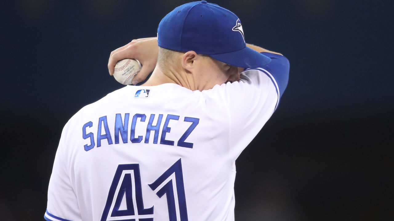 TORONTO, ON - APRIL 14: Aaron Sanchez #41 of the Toronto Blue Jays reacts after giving up a hit in the fifth inning during MLB game action against the Baltimore Orioles at Rogers Centre on April 14, 2017 in Toronto, Canada.