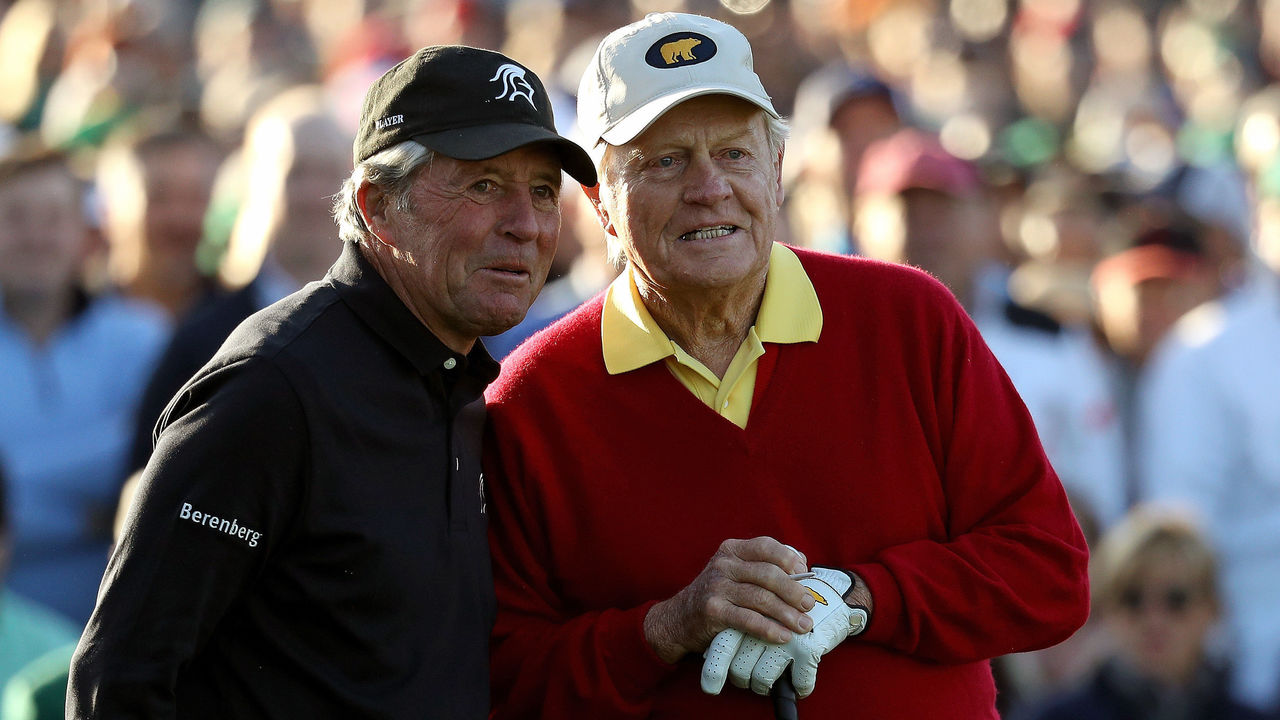 AUGUSTA, GA - APRIL 05: (L-R) Honorary starters Gary Player of South Africa and Jack Nicklaus of the United States take part in the opening tee ceremony prior to the start of the first round of the 2018 Masters Tournament at Augusta National Golf Club on April 5, 2018 in Augusta, Georgia.