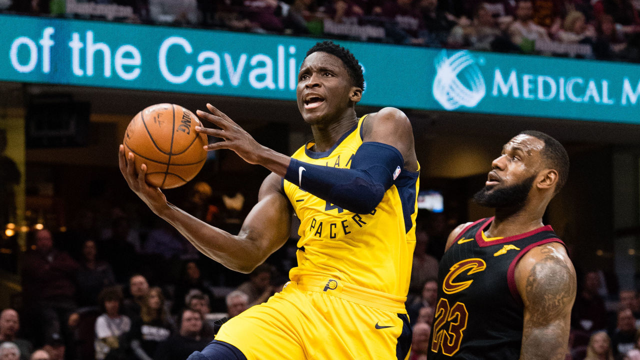 CLEVELAND, OH - APRIL 18: Victor Oladipo #4 of the Indiana Pacers shoots over LeBron James #23 of the Cleveland Cavaliers during the second half of Game 2 of the first round of the Eastern Conference playoffs at Quicken Loans Arena on April 18, 2018 in Cleveland, Ohio. The Cavaliers defeated the Pacers 100-97.