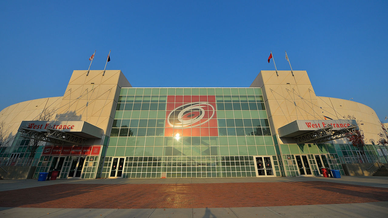 RALEIGH, NC - NOVEMBER 18: General view of the exterior of PNC Arena before the game between the Carolina Hurricanes and the Montreal Canadiens on November 18, 2016 in Raleigh, North Carolina.